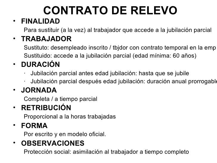 Contrato tiempo parcial y contrato de relevo